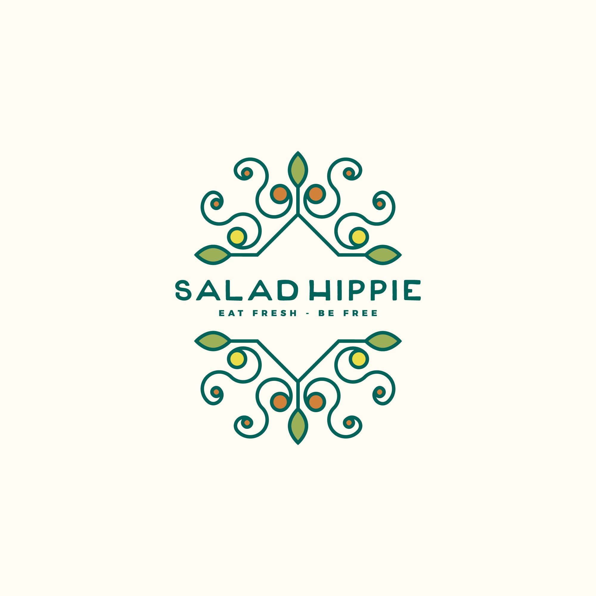 "design a logo that screams our name...""Salad Hippie!"""