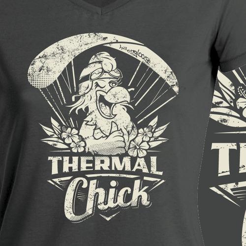 Crazy Ladies Paraglider T-Shirt-Design THERMAL CHICK