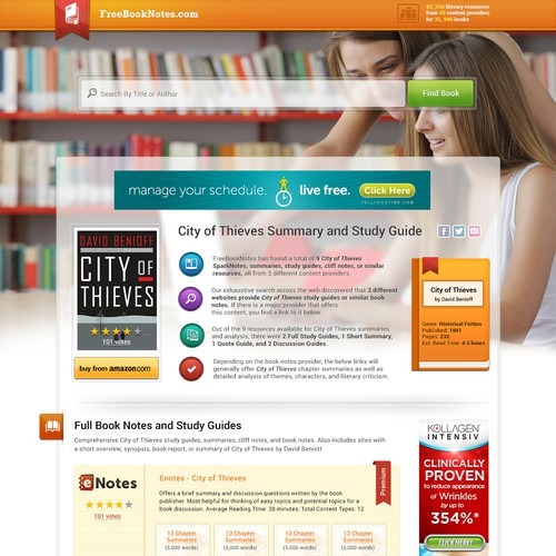 Bold and clean design for freebooknotes.com