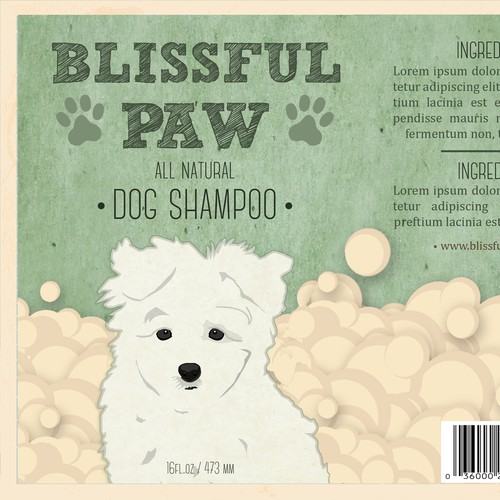 Create a vintage label for all-natural dog shampoo/conditioner