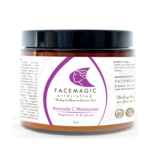 Label for FACEMAGIC skincare products