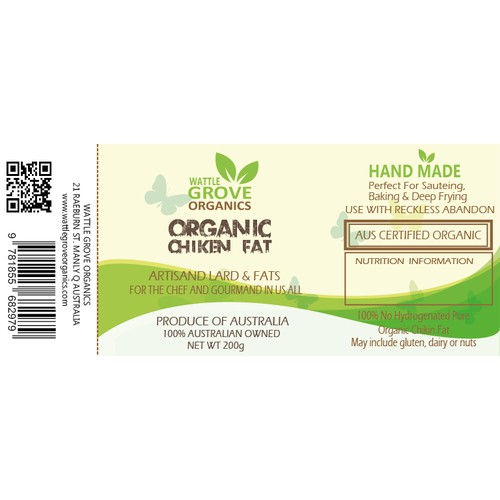 What? Organic Animal FAT???  Please help us with a funky new label.   Wattle Grove Organics.