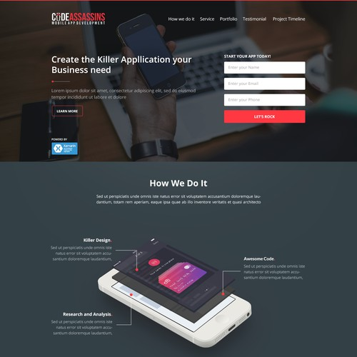 Super Sexy Landing Page Needed For Mobile App Development Firm
