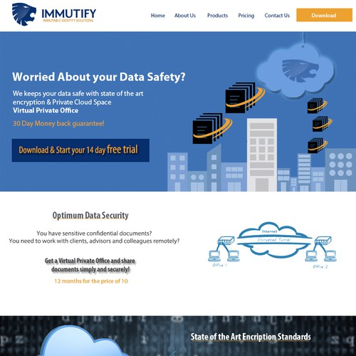 Secure Data transfer landing page