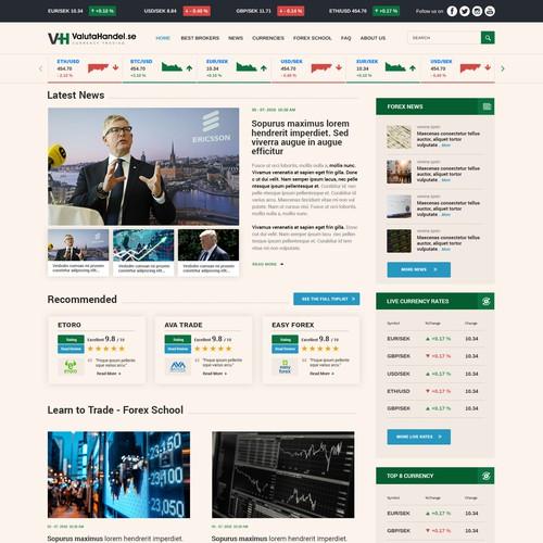 Premium Scandinavian clean looking forex/currency trading website