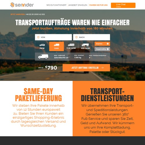 ReDeSiGn of simple logistics landing page