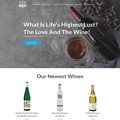 Design the most enhanced wine lovers site