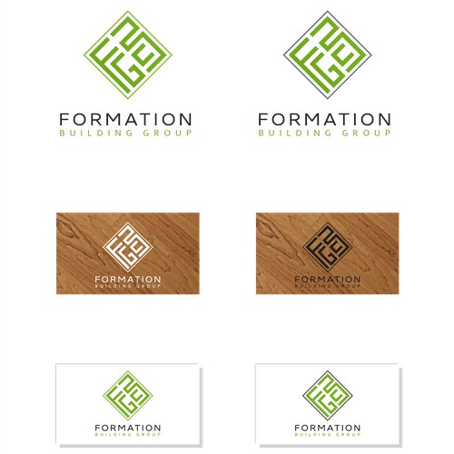 "Create a modern hip logo for a Green building company called ""Formation Building Group"""