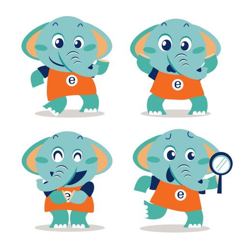 Illustrated Elephant Character for kids literacy app targeting kids 4-8