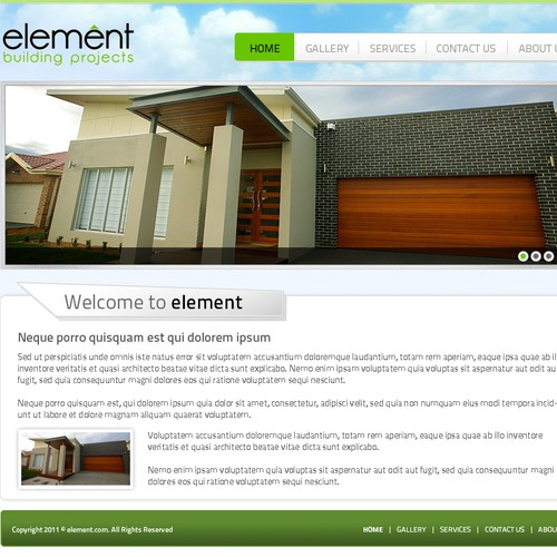 Website design for Element Building Projects with Wire Frame