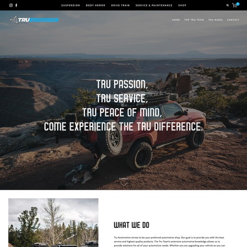 Rugged, Modern Squarespace Commerce Design for Colorado Automotive Shop Tru Automotive
