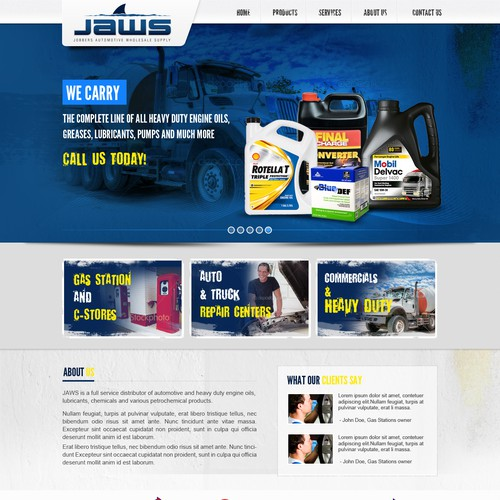 JAWS, Inc. (Jobbers Automotive Wholesale Supply, Inc.) needs a new website design