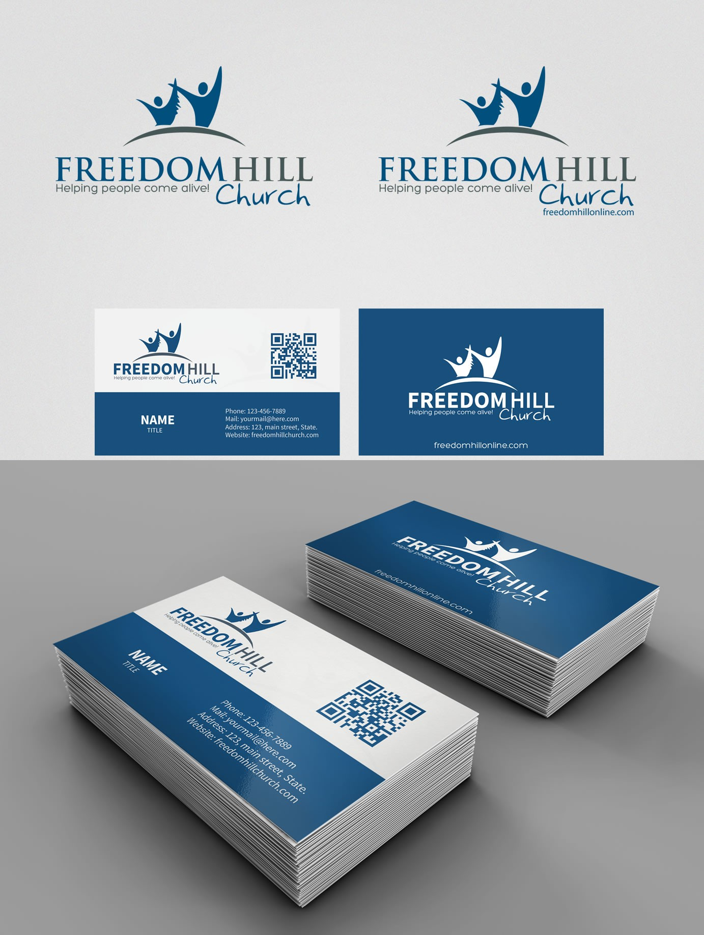 Create the next logo for Freedom Hill Church