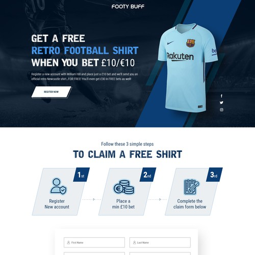 Landing page of Footy Bff