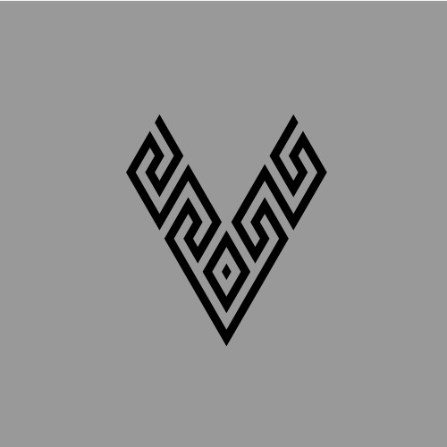 letter V with Greek motif pattern