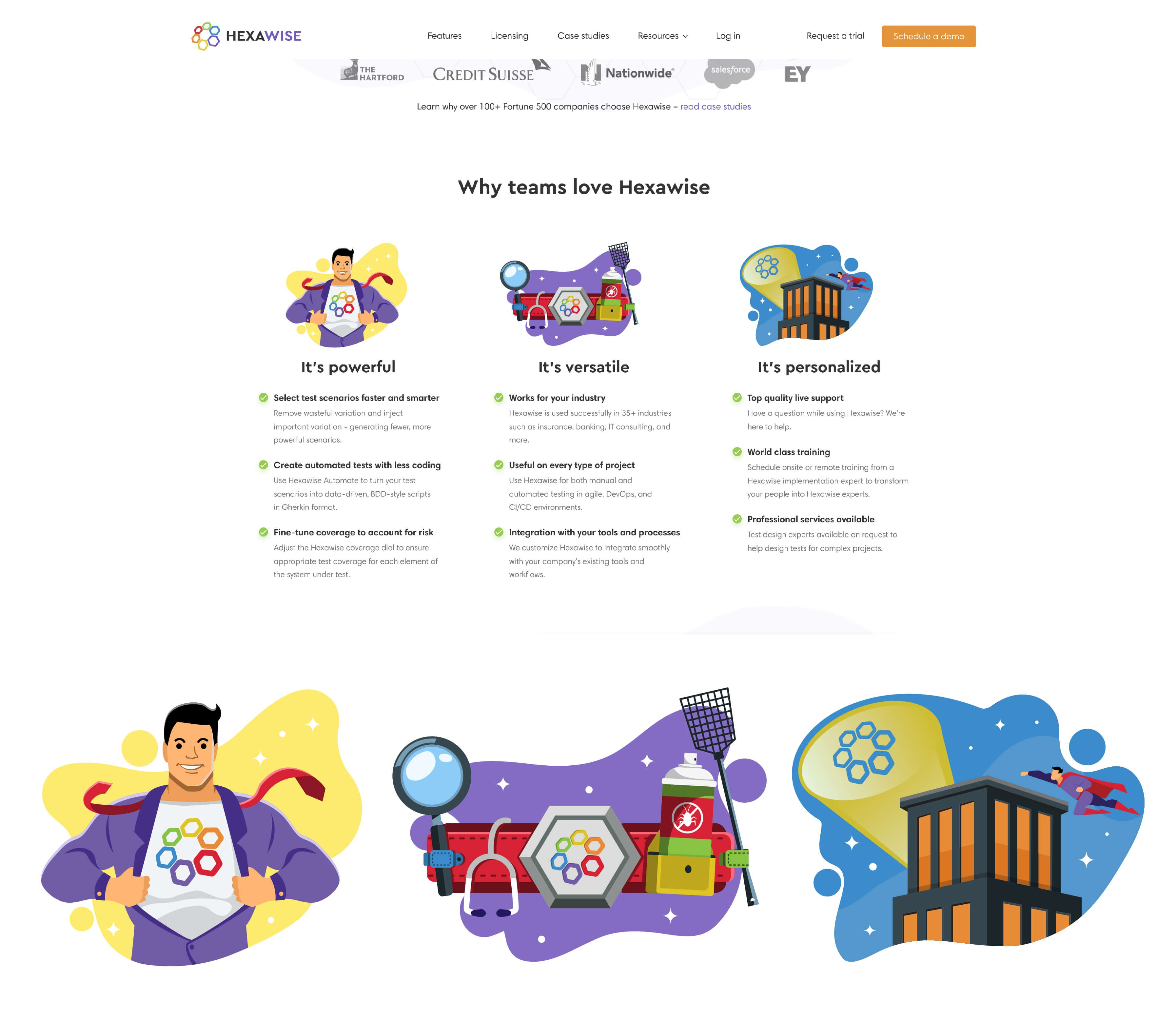 Illustrations for Hexawise Landing Page