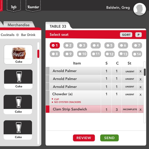 Restaurant ordering application UI