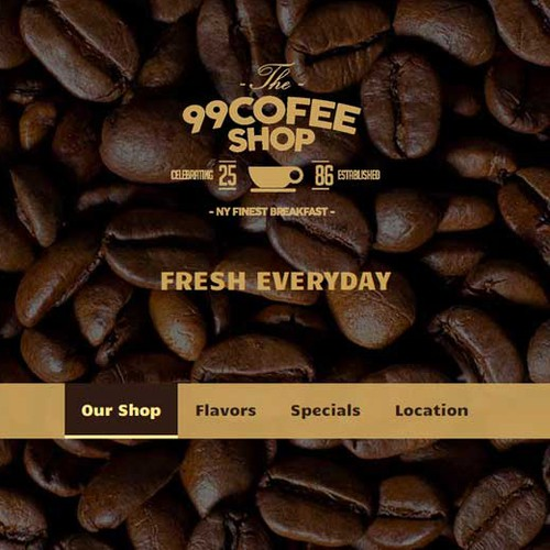 Web Layout for coffee shop