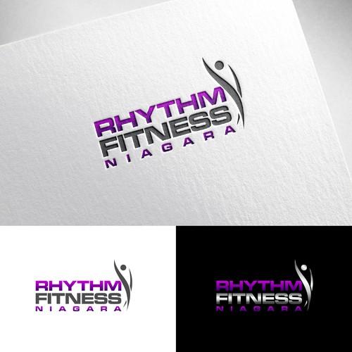 Fun, classy, and modern logo for Rhythm Fitness Niagara company