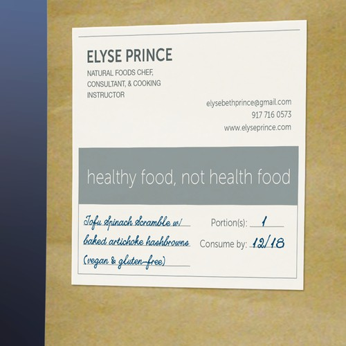 Simple food label for Private Chef.