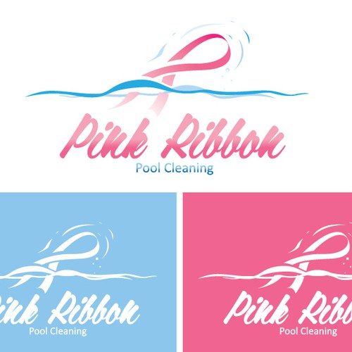 Pink Ribbon Pool Cleaning needs a bold logo to convey our mission!