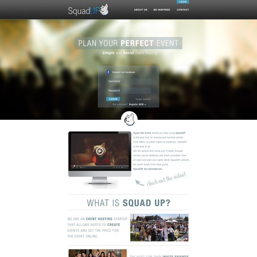 Help www.squadup.com with a new landing page