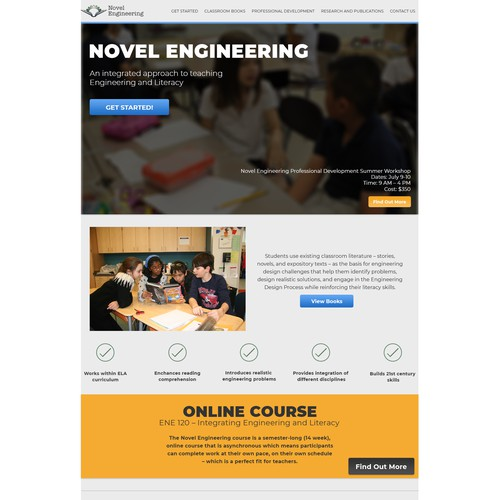 Web page concept for education firm