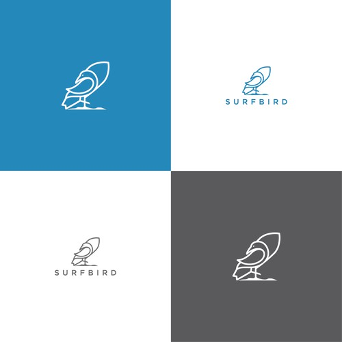 simple surfing bird logo