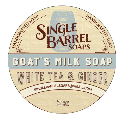 Create a vintage, colorful product label for Single Barrel Soaps