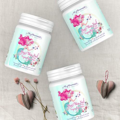 A femine label design for a supplement