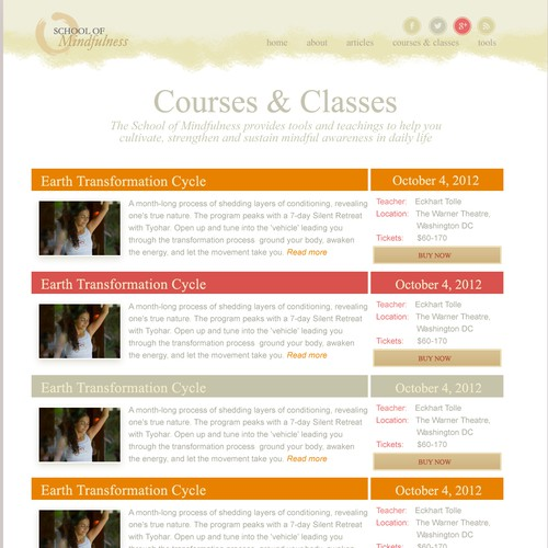 Web Design - School of Mindfulness - Courses & Classes Page