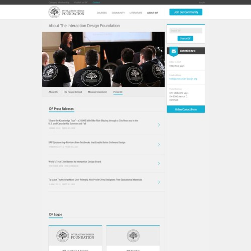 Press Kit Page Design for Interaction Design Foundation