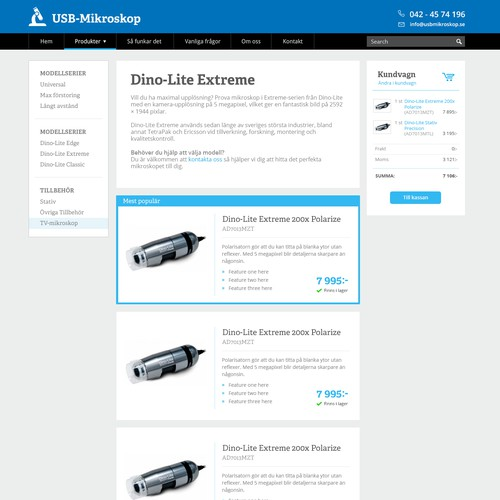 Product listing page for technicians