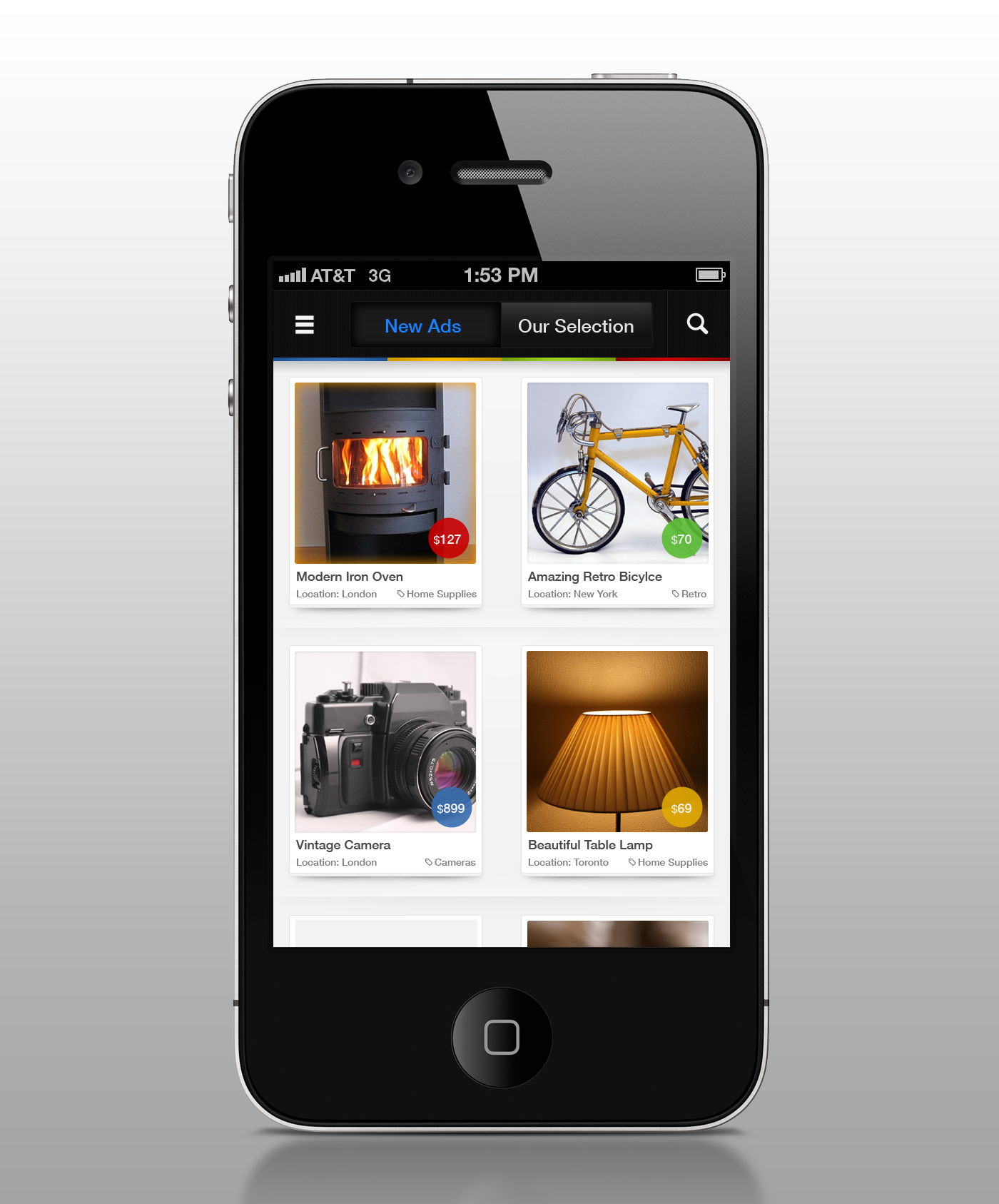 Create a new mobile app design for Vivastreet - free classified site