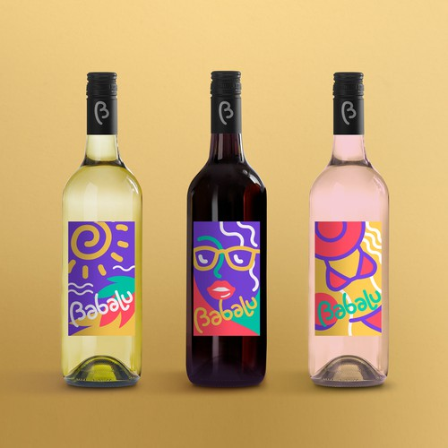 Sea sun wine label design
