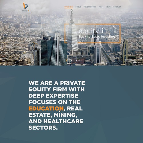 Design a clean and engaging private equity site for a Dubai-based internationally oriented team