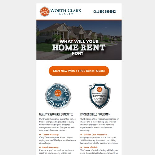 Responsive email template for Worth Clark Realty