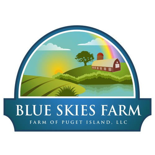 Create a logo to represent a small farm and island community for Blue Skies Farm of Puget Island