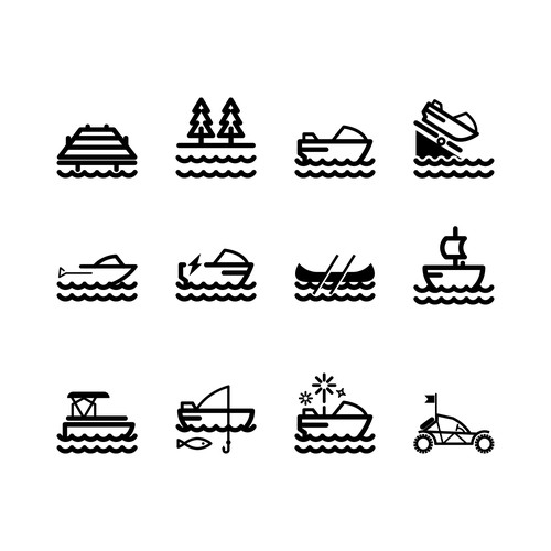 Icon set for a Lakeside Dock business Company