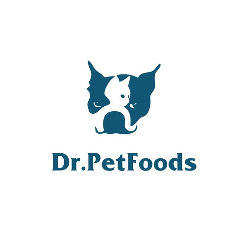Negative space Pet logo, dog and cat.