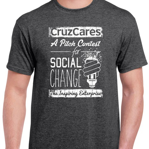 Create a trendy tshirt design for a Santa Cruz pitch contest for social ventures.