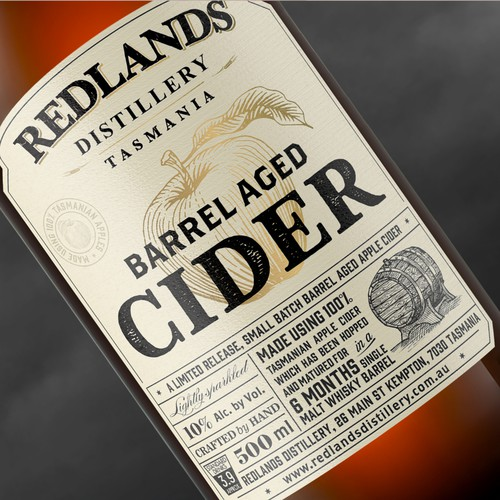 Whisky barrel aged cider bottle label