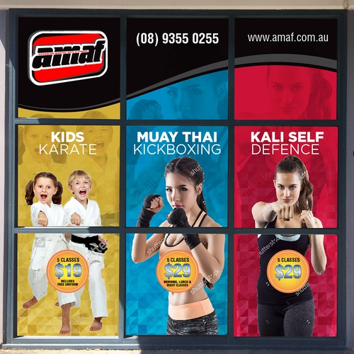 Martial Arts gym window advertising