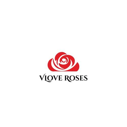 V love Roses logo design