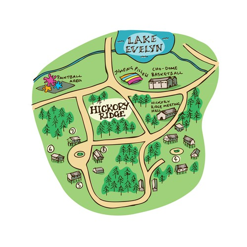 Hand drawn site map for a summer camp in Texas