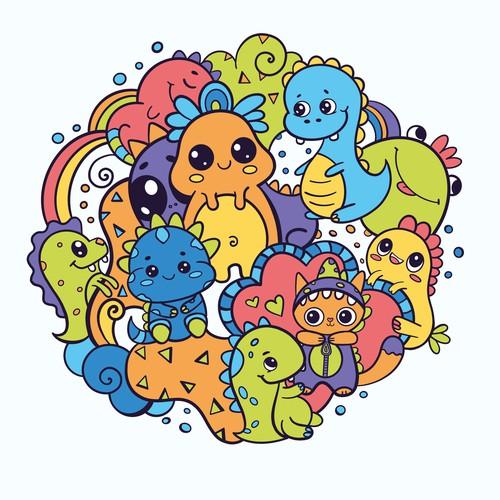 Rainbow dino-doodle T-shirt design
