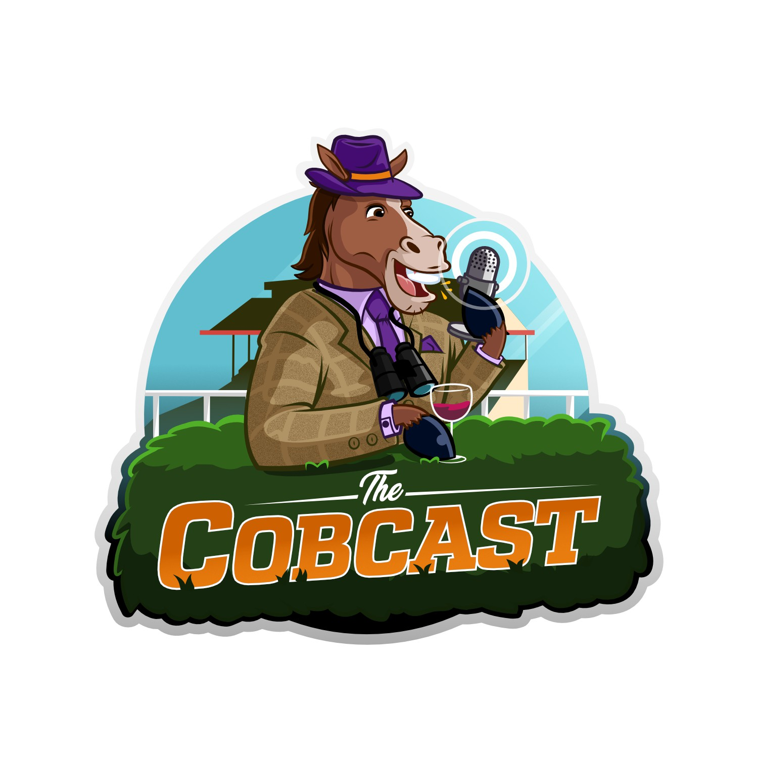 Sleek Podcast Logo with Horse Racing Theme