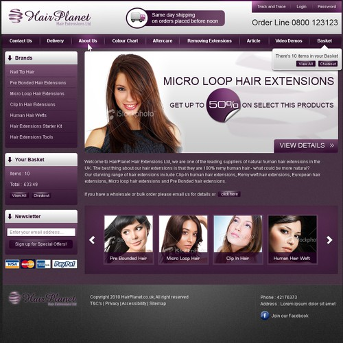 Web Page Re-Design / Facelift For Hair Extensions Ecom Site
