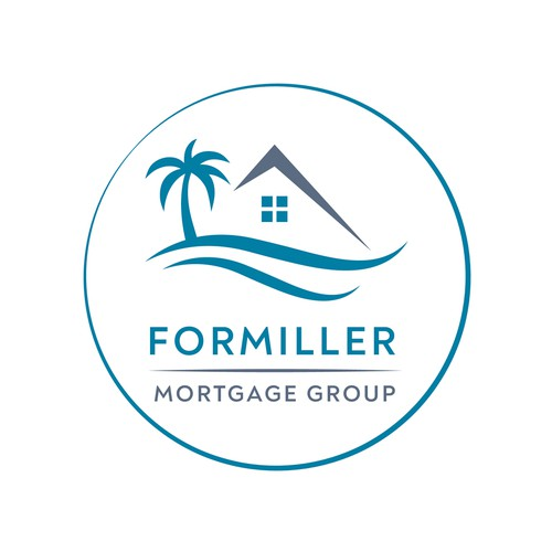 Clean mortgage broker logo with ocean element