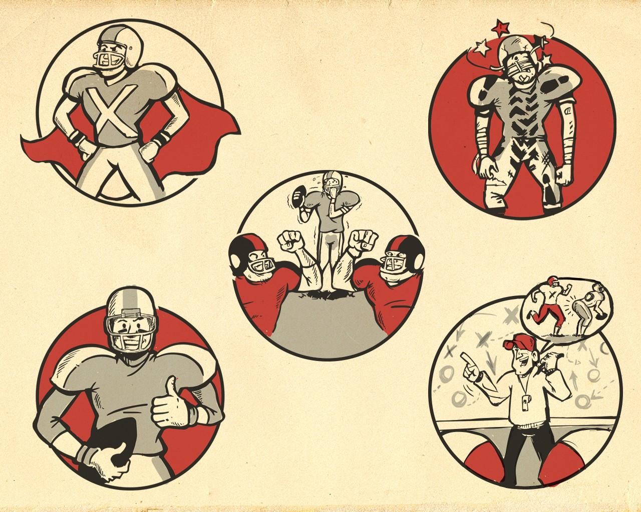 Create vintage football card cartoon icons for Gridiron View